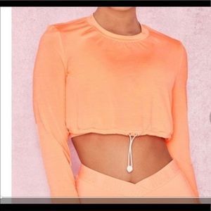 House of CB White crop athletic slightly sheer top